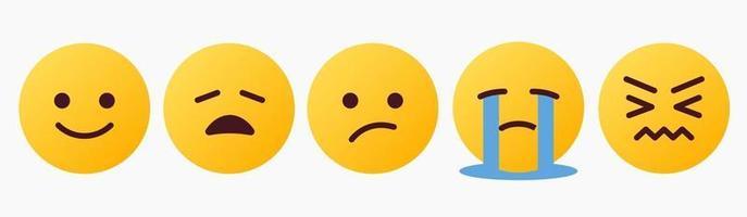 reacción de emoticon, hey, cansado, llorando, idk - vector
