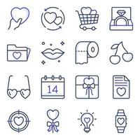 paquete de iconos de línea de color de amor vector