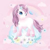 lindo unicornio con ilustración de acuarela vector