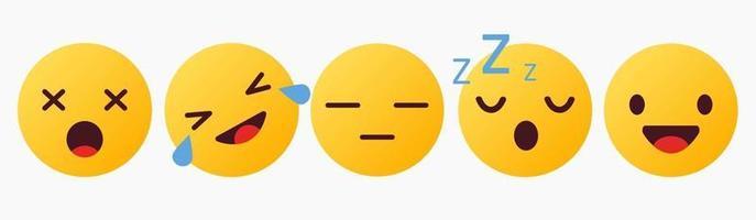 reacción de emoticonos, jajaja, alegría, dormir, sin hablar - vector