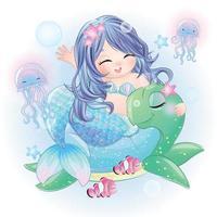 Cute mermaid with watercolor illustration vector