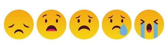 emoticon triste y llorar reacción set - vector