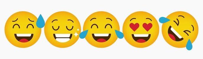 Reaction Emoticon Design Collection Set vector