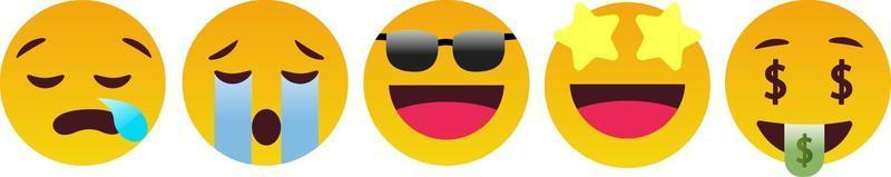 Emoticon Reaction, Sleep, Cry, Feel Good, Money - Vector