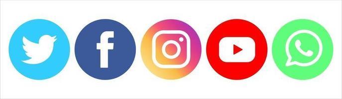 conjunto de iconos de redes sociales de diseño vectorial vector
