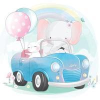 lindo elefante conduciendo un coche con ilustración de conejito vector