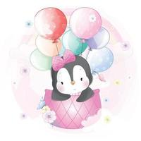 Cute penguin flying in hot air balloon illustration