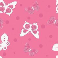 Paper-cut butterflies seamless pattern with polkadot. Butterflies print. vector