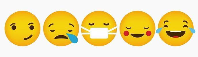 Reaction Emoticon Flat Collection Design vector