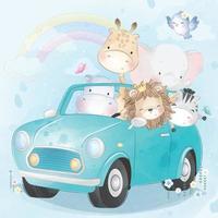 Cute animals driving a car illustration vector