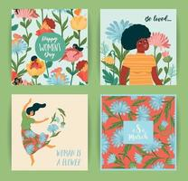día Internacional de la Mujer. conjunto de ilustraciones vectoriales con mujeres lindas y flores vector