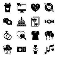 Pack of Love and Valentine Solid Icons vector