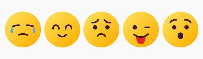 reacción de emoticon, llorar, alegría, triste, regañoso, lol - vector