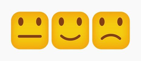 Design Square Emoticon Reaction Set - Vector