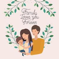 tarjeta del día de la familia con padres e hijo corona de hojas vector