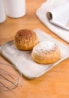 Choux dessert topped with powered sugar