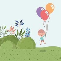 niño feliz con globos al aire libre vector