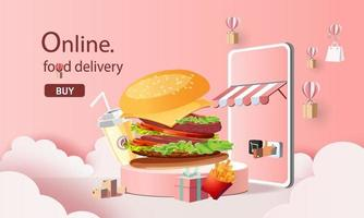 online fast food delivery with smartphone vector illustration