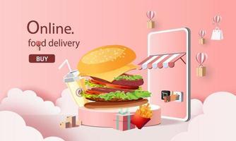 Entrega de comida rápida en línea con ilustración de vector de teléfono inteligente