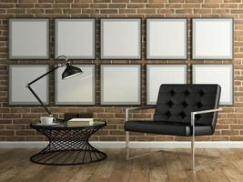 Part of an interior with brick wall and a black armchair in 3D rendering