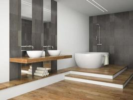 Interior of a bathroom with wooden floors in 3D rendering