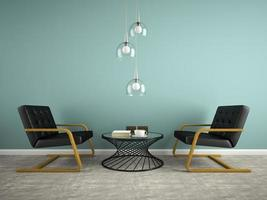Part of an interior with two black armchairs in 3D rendering