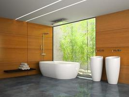 Interior of a bathroom with wooden walls in 3D rendering