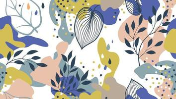 Abstract organic blots and leaves seamless pattern in trendy style. Stylish background with dots and flowing floral shapes. vector