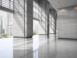 Interior of a hotel lobby reception in 3D illustration