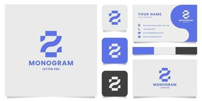 Logotipo de monograma de letra z geométrica simple y minimalista con plantilla de tarjeta de visita