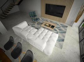 Interior of a modern design room in 3D illustration photo