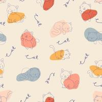 Seamless pattern of hand-drawn cat and abstract shape. vector