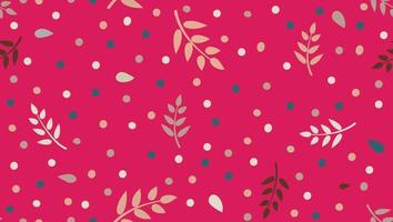 Floral pattern with  leaves and dots in minimal childish style. Abstract seamless festive background. Flourish ornamental garden with polka dot ornament. vector