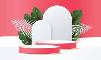 3D podiums and tropical leaves vector