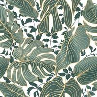 Floral leaves seamless pattern. Foliage garden background. Floral ornamental tropical nature summer palm leaves decorative retro style wallpaper vector