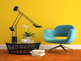 Part of an interior with a modern blue armchair in 3D rendering