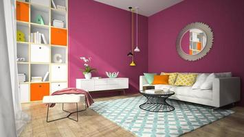 Interior of a modern design living room with a round mirror in 3D rendering