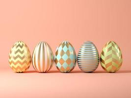 Easter eggs on a pink background in 3D illustration