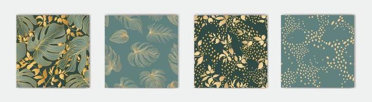 Floral leaves seamless pattern set. Foliage garden background. Floral ornamenal tropical nature summer palm leaves decorative retro style wallpaper. Design collection vector