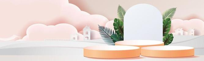 3D podiums and tropical leaves in the clouds vector