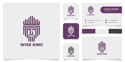 Línea de logotipo antiguo rey con plantilla de tarjeta de visita