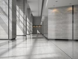 Interior of a hotel lobby reception in 3D illustration photo