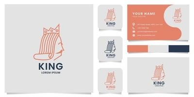 Line King Logo with Business Card Template vector