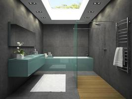 Interior of a bathroom with a ceiling window in 3D rendering photo