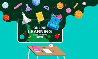 Online Learning, study from home, social distancing, back to school, flat design vector. vector