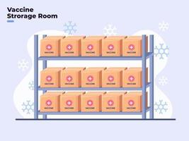 Ilustración plana de la sala de almacenamiento de vacunas de coronavirus covid-19 con temperaturas frías, refrigerador de la sala de vacunas con temperatura de congelación, sala de contenedores de reactivos de almacenamiento, sala de seguridad para vacunas de medicamentos. vector