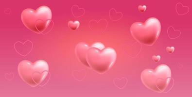feliz dia de san valentin banner con corazones vector