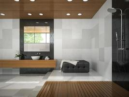Interior of a stylish bathroom with a wooden ceiling in 3D rendering photo