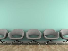 Part of an interior with modern grey armchairs in 3D rendering