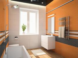 Interior of a bathroom with orange walls in 3D rendering